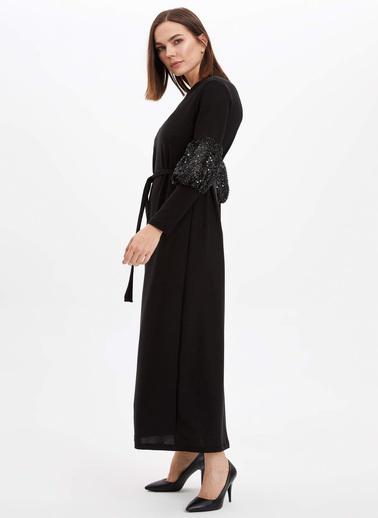 DeFacto Kol Detaylı Örme Elbise Siyah